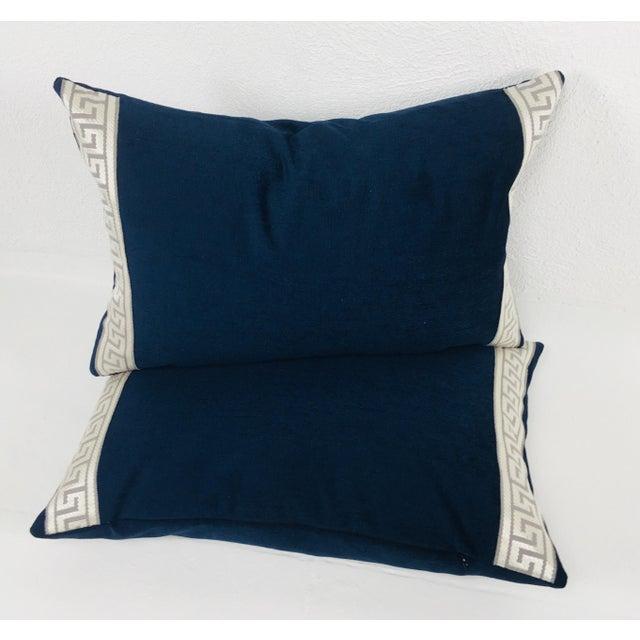 Indigo Blue Plush Chenille Lumbar Pillows- a Pair For Sale In Philadelphia - Image 6 of 6