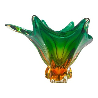 1950's Abstract Murano Sommerso Vase in Emerald and Amber Hues, Italy For Sale
