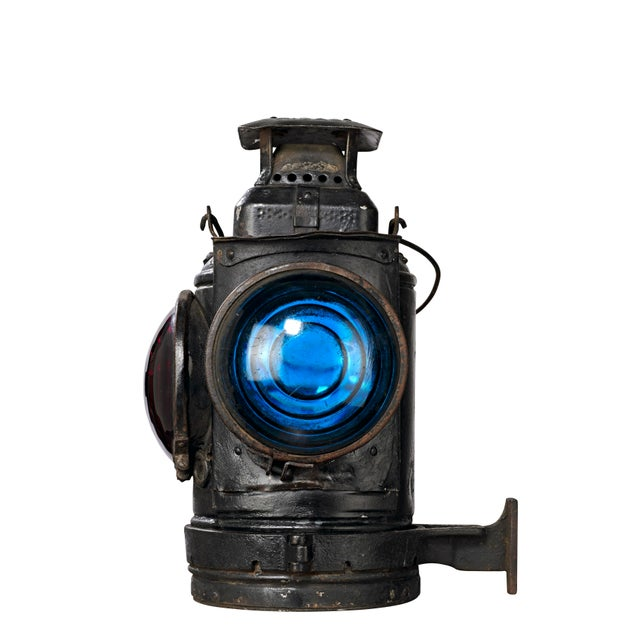 Three Lens Adlake Railroad Switching Lantern/Light For Sale - Image 4 of 12