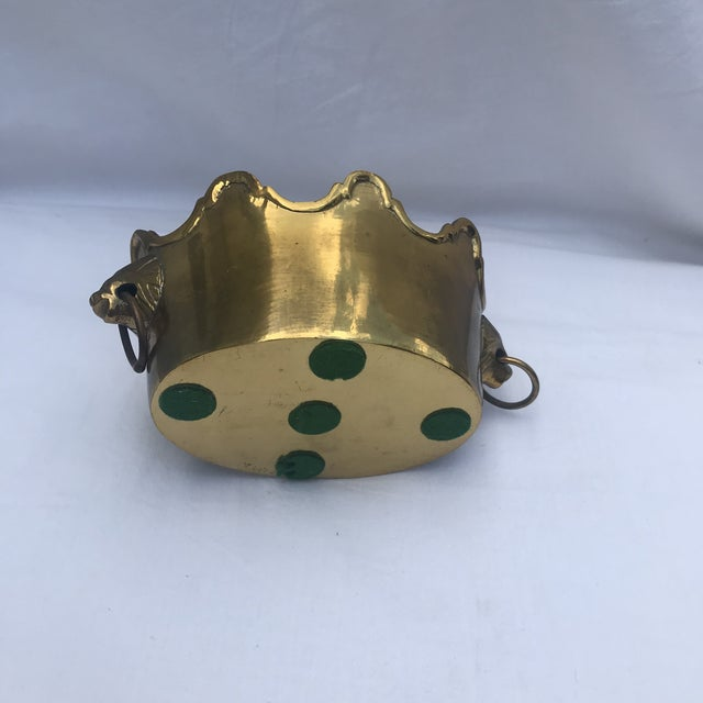 Brass Scalloped Rim Planter With Lion's Head Handles For Sale In Dallas - Image 6 of 7