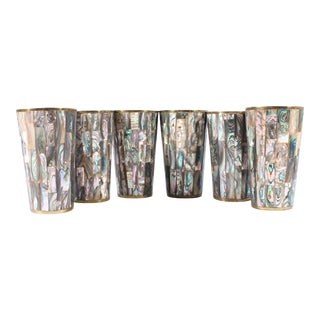 1970s Vintage Mexican Abalone Tumblers - Set of Six For Sale