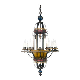 Spanish Revival Wrought Iron 12-Light Chandelier For Sale