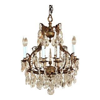 1910s French Crystal Eight Light Chandelier For Sale