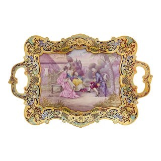 19th Century French Champleve Enamel Over Gilt Bronze Mounted Sevres Porcelain Tray For Sale