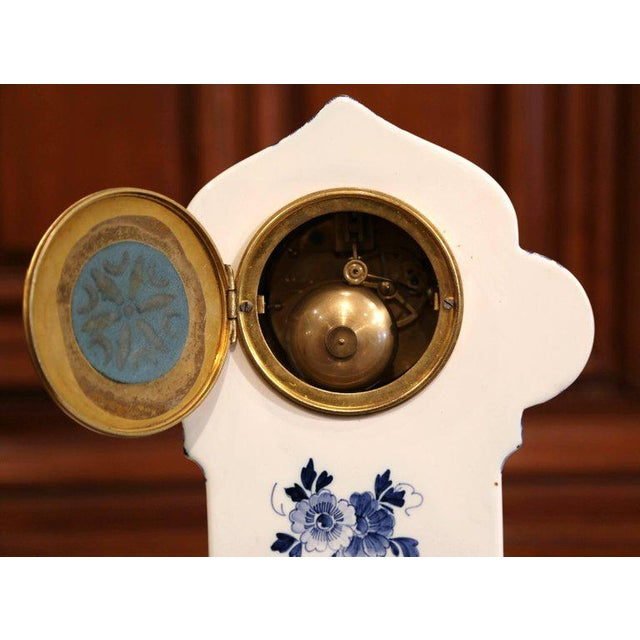 Delft Early 20th Century Dutch Hand-Painted Blue and White Faience Delft Mantel Clock For Sale - Image 4 of 13