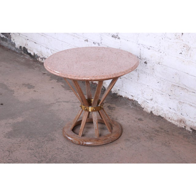 Danish Modern Edward Wormey for Dunbar Style Sheaf of Wheat Marble Top Side Table For Sale - Image 3 of 11