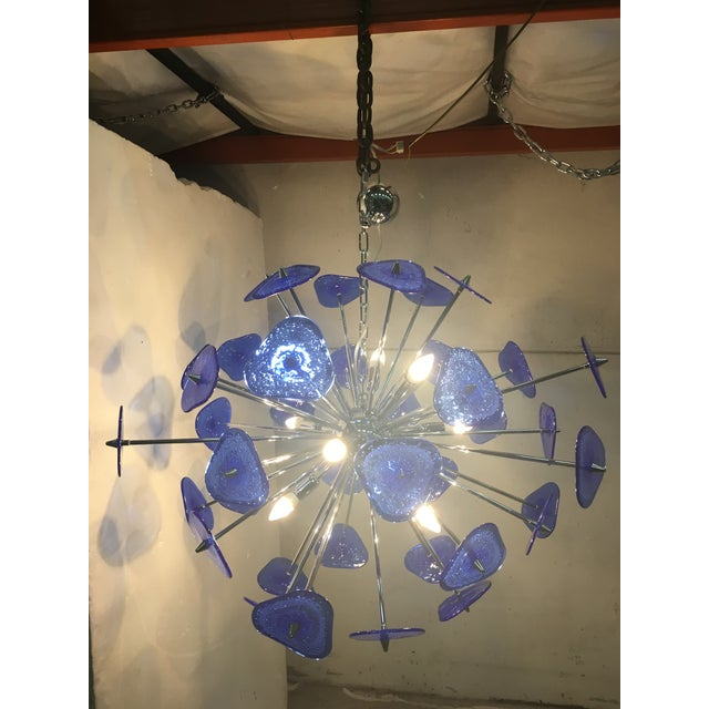 Contemporary Blue Murano Glass Sputnik Chandelier For Sale - Image 6 of 12
