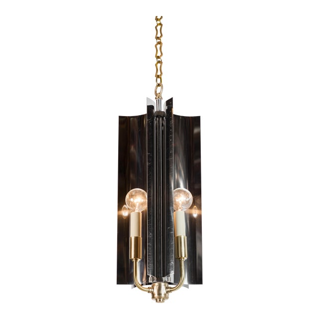 Sculptural Mid-Century Modern Curved Pendant with Reflective Qualities For Sale