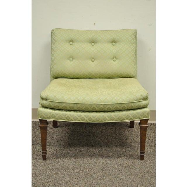 Hollywood Regency Green Upholstered & Wood Slipper Chair - Image 4 of 11