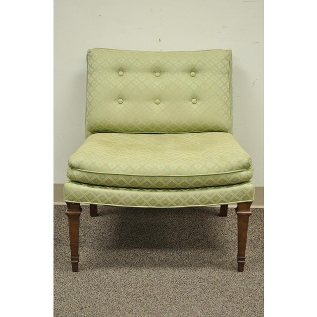 Hollywood Regency Vintage Hollywood Regency Green Upholstered & Wood Slipper Accent Side Chair For Sale - Image 3 of 10