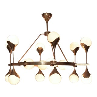 Very Large Murano Glass and Brass Chandelier Attributed to Stilnovo For Sale