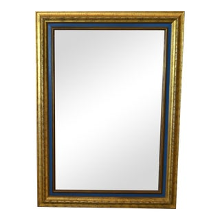 American Hollywood Regency Antique Gold Finished & Blue Wooden Wall Mirror For Sale