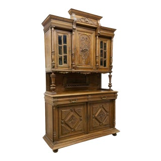 1800s Antique French Henri II Style Carved Walnut Sideboard For Sale