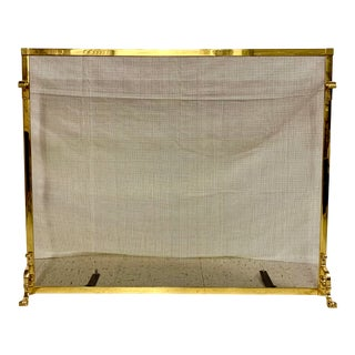 Traditional Brass Fireplace Screen With Claw Feet For Sale