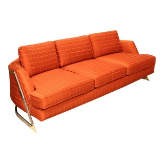 Contemporary Modern Bernhardt Flair Chrome Wrapped Sofa Baughman Era For Sale