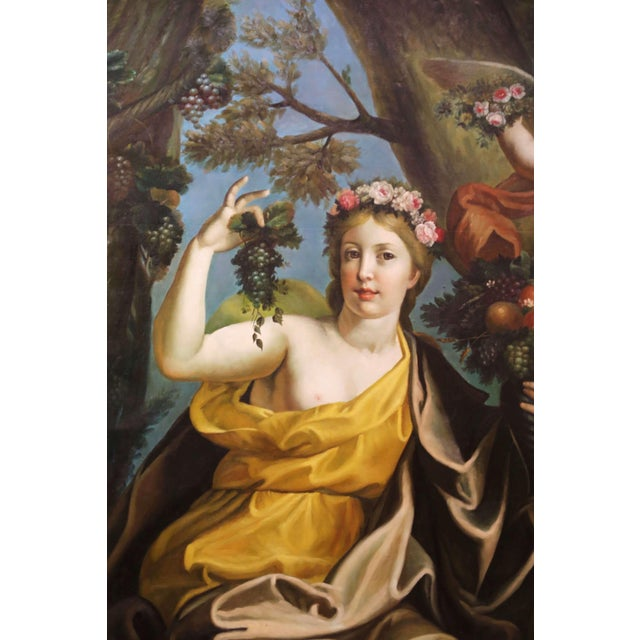 Large Mid-Century French Allegory Oil on Canvas Painting in Carved Frame For Sale - Image 4 of 10