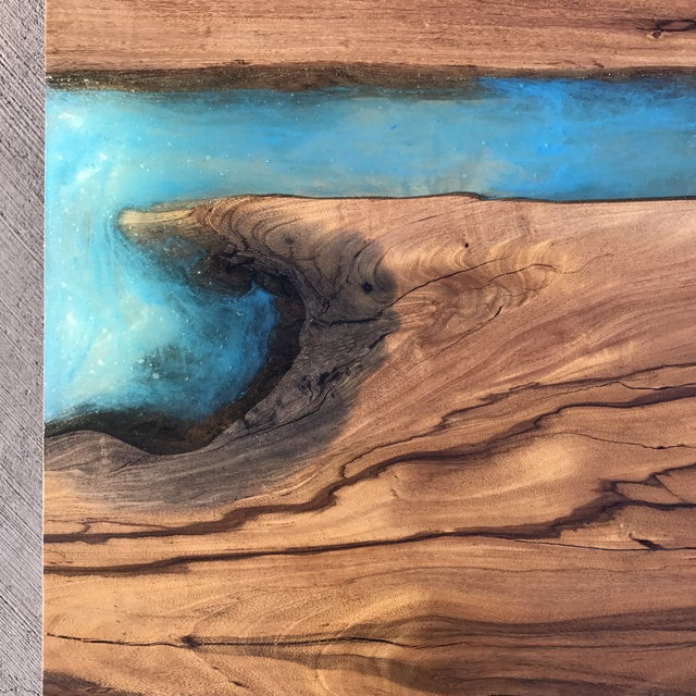 Turquoise Wood & Resin River Table For Sale - Image 8 of 11