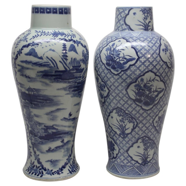 Set Of Two Tall Chinese Blue And White Ceramic Vases Chairish