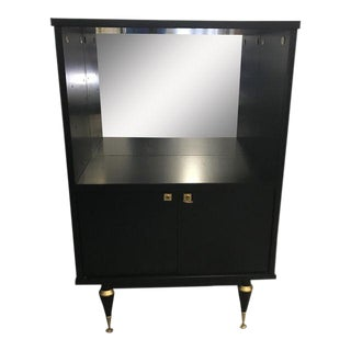 1940's French Art Deco Ebonized Dry Bar Cabinet For Sale