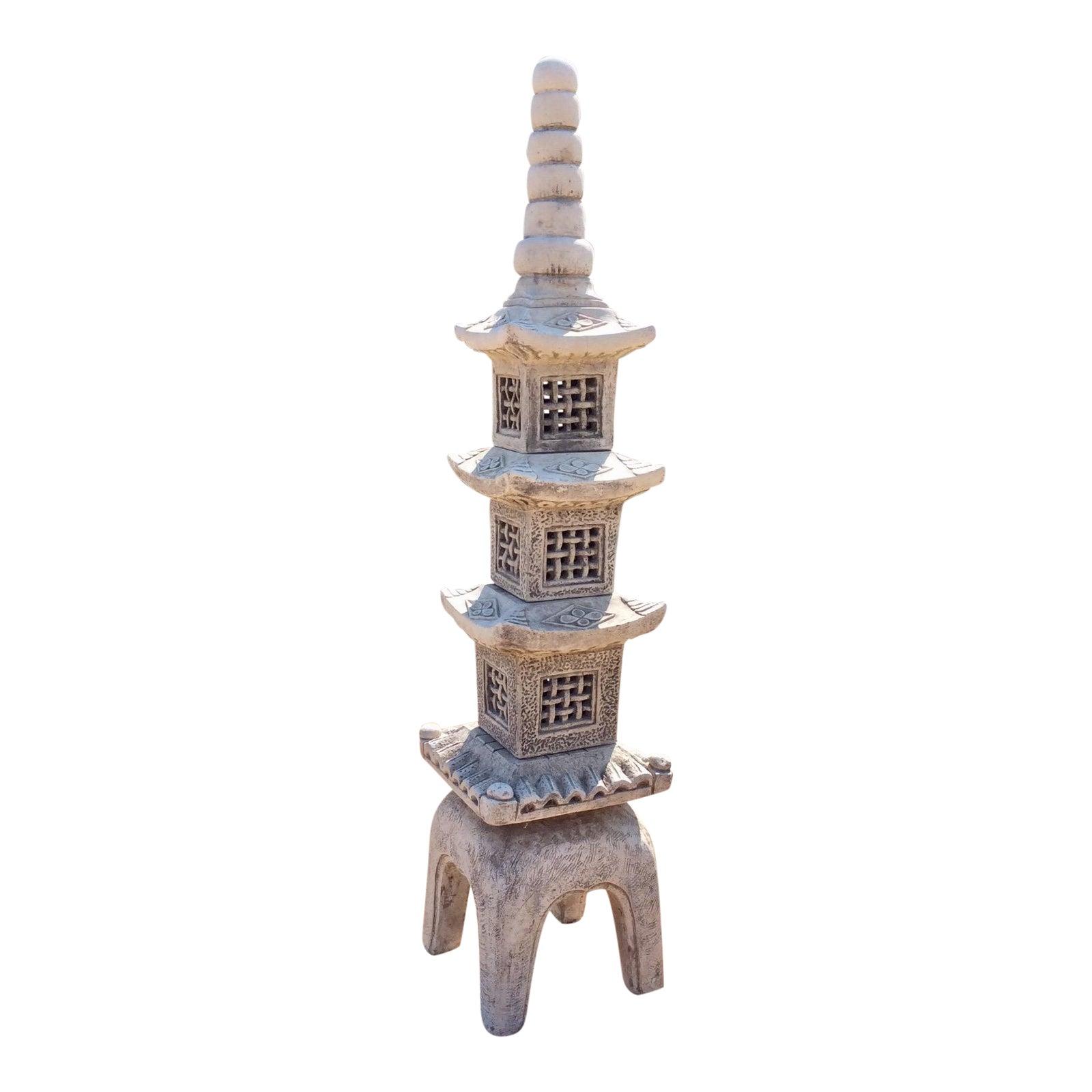 Vintage Japanese Pagoda Tall Cast Stone Buddhist Five Elements ...