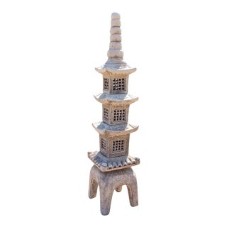 Vintage Japanese Pagoda Tall Cast Stone Buddhist Five Elements Sculpture For Sale