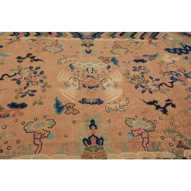 Textile Antique Peach Peking Chinese Room Size Wool Rug 9 Ft X 11 Ft 9 In. For Sale - Image 7 of 11