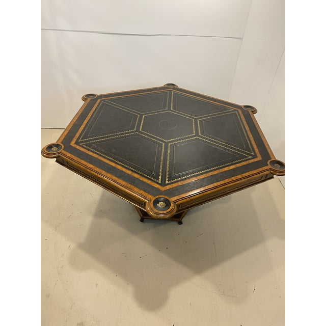 Maitland-Smith Embossed Leather Game Table For Sale - Image 12 of 12