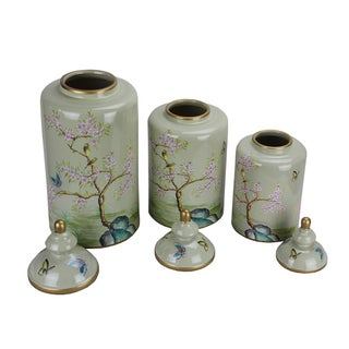 Pasargad DC Modern Contemporary Turquoise Floral Porcelain Jars - Set of 3 Preview