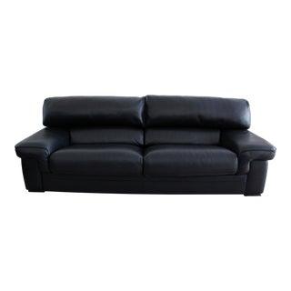 Roche Bobois Black Leather 3 Seat Sofa