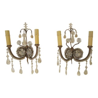 1930s Hollywood Regency 2 Light Crystal Wall Sconces - a Pair For Sale