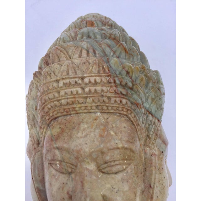 Brown Soapstone Hand-Carved Bust of Brahma With Four Faces For Sale - Image 8 of 13