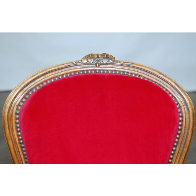Antique French Louis XV Carved Red Velvet Bergere - Image 3 of 9
