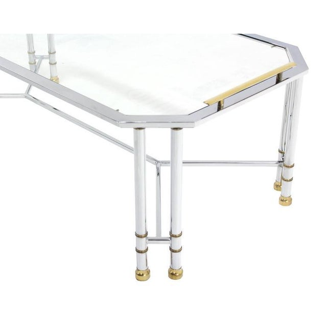 Hollywood Regency Mid Century Modern Chrome Brass Glass Rectangular Coffee Table For Sale - Image 3 of 8