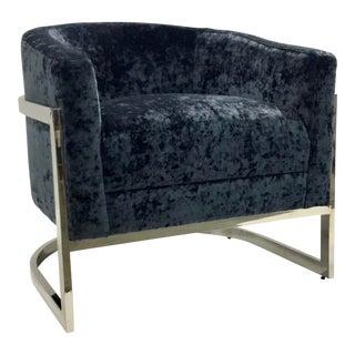 Modern Barrel Back Blue Burnt Velvet and Chrome Lounge Chair For Sale