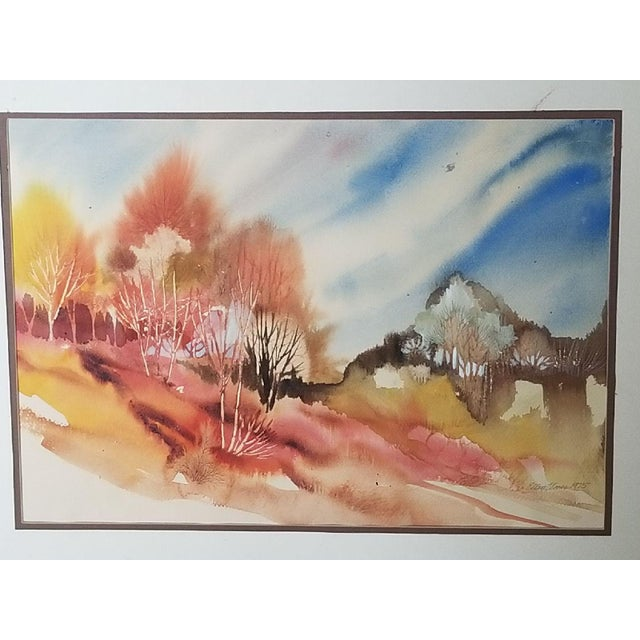 Abstract Southwest Virginia Appalachian Fall Forest Watercolor Painting For Sale - Image 3 of 3