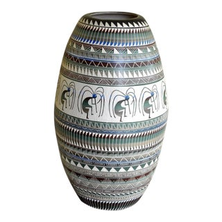 "Huge Navajo Style Porcelain Vase Etched With Figural and Geometric Features - 27"" For Sale"