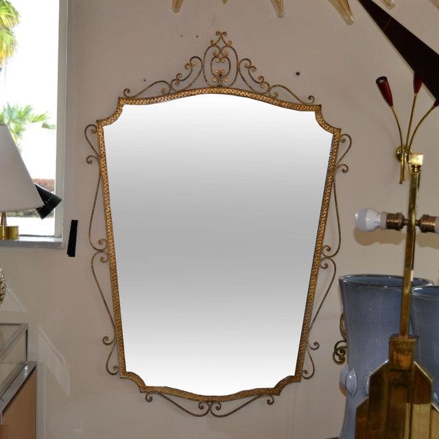 Art Deco Art Deco Style Italian Gilt Wrought Iron Wall Mirror by Pier Luigi Colli For Sale - Image 3 of 12