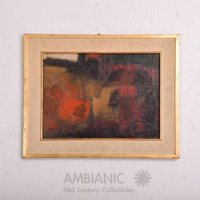 For your consideration a vintage abstract painting. Oil in masonite with original wood frame with linen and gold leaf. F...