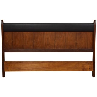 Walnut and Black Vinyl Full Headboard