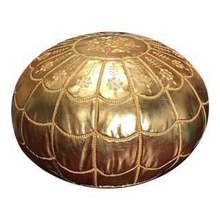 Full Arch Pouf by Mpw Plaza, Gold (Stuffed) Moroccan Faux Leather Pouf Ottoman For Sale