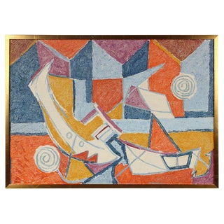 Cubist Abstracted Boats in Oil, Mid 20th Century For Sale