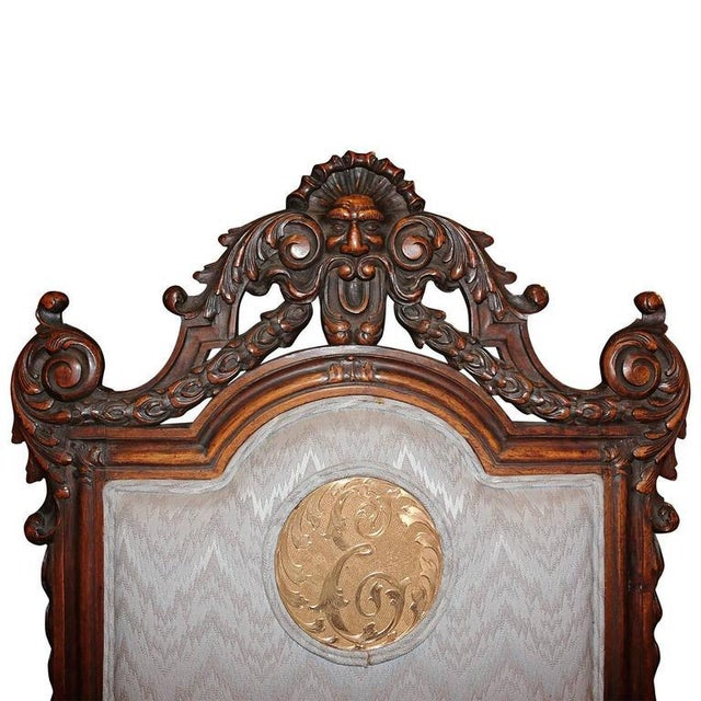 Spanish Hand-Carved Wood With 24-Karat Gold-Plated Bronze Emblem Kings Chair - Image 9 of 11