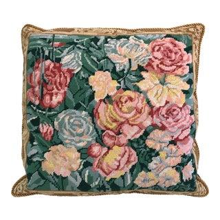 Vintage Needlepoint Pillow with Velvet Back
