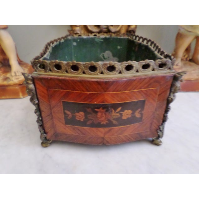 French 19th Century Antique French Bronze & Marquetry Inlaid Wood Flower Box For Sale - Image 3 of 12