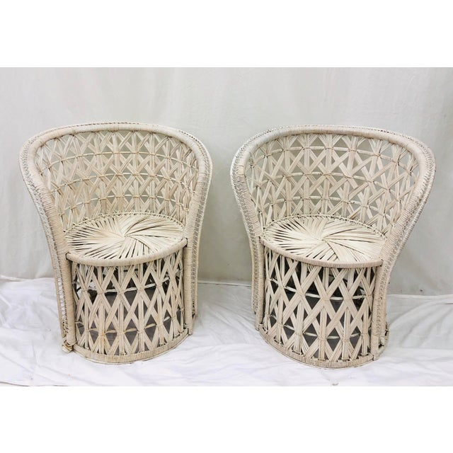 Pair Boho Chic White Wicker & Rattan Chairs For Sale - Image 13 of 13
