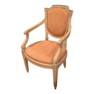 Dennis & Leen Chamois Leather Bergere Chair For Sale