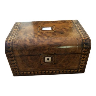 English Burl & Mother of Pearl Box For Sale