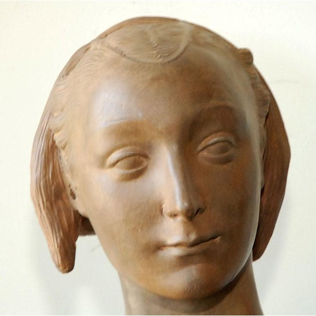 "Renaissance style terracotta bust of a woman made in Italy in the latter half of the 20th Century. Based on original ""Bust..."