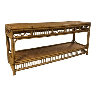 Vintage Bamboo and Caning Console Table