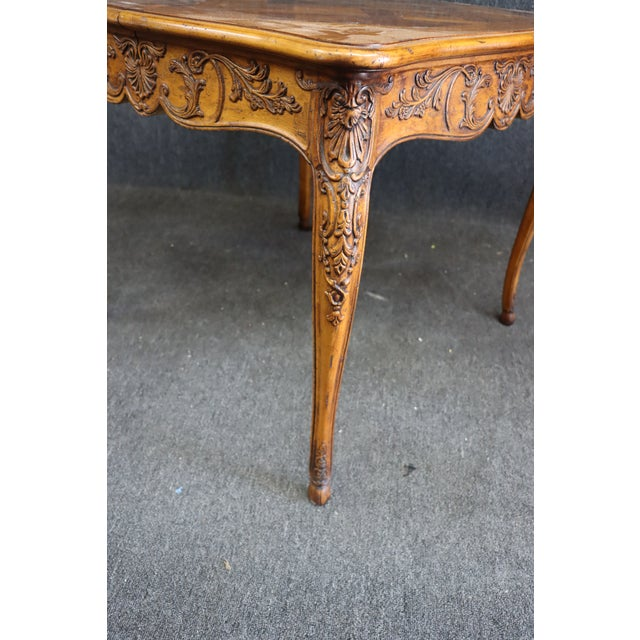 French Henredon Louis XV Style Carved Fruitwood Parquetry Dining Table For Sale - Image 3 of 10